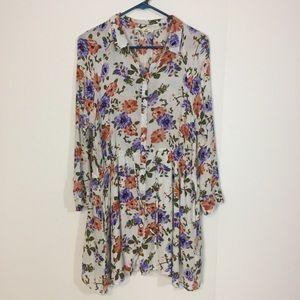 Entro Floral Button Down Tunic blouse top shirt S